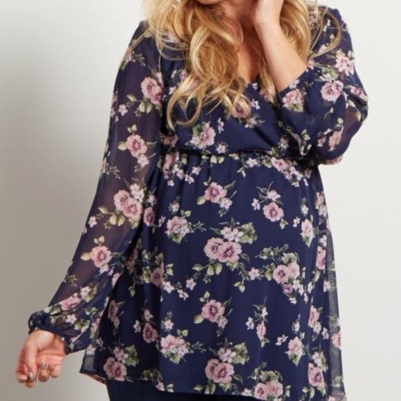 8de130e391d Pink Blush Plus Size Chiffon Blue Floral Wrap Top